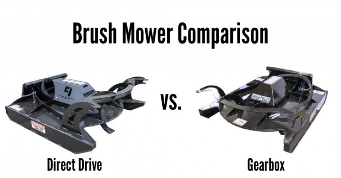 Comparing the standard Gearbox vs Direct Drive for the brush mower skid loader attachment